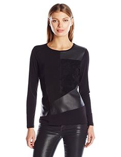 Calvin Klein Women's L/s Top Withsuede and Faux Leather Mix - http://www.darrenblogs.com/2016/10/calvin-klein-womens-ls-top-withsuede-and-faux-leather-mix/