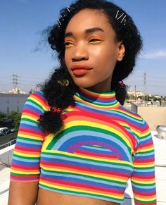 Of Course Black is Beautiful Pride Outfit, Rainbow Outfit, Rainbow Fashion, Rainbow Clothes, Black Girl Magic, Black Girls, Trends 2018, Pretty People, Beautiful People