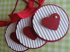 hanmade card making embellishments ... Sweet Heart Tags ... like the corrugated paper .and the pearl ...