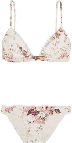 Eden Floral-print Triangle Bikini - Off-white
