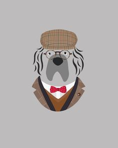 Custom Dog Portrait by Woof Models - Newfoundland. Model is wearing Hackett London Brown Check Jacket, Twill Double Cuff Shirt & Three Colour Circle Dot Bow Tie, Musto Shooting Checked Wool-Blend Tweed Flat Cap & Garrett Leight Coeur D'alene Glasses, Jcrew Slim-Fit V-Neck Cashmere Sweater , Dolce & Gabbana Striped Scarf.