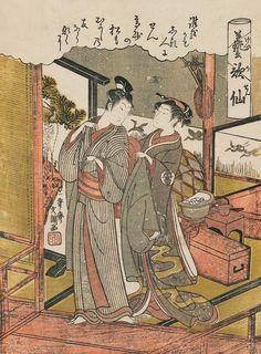 """Woman Helping a Man Put on His Coat"" Ukiyo-e woodblock print, about 1770, Japan, by artist Ippitsusai Buncho"