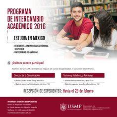 #IntercambioFCCTP   Experimenta nuevas vivencias y aprovecha la oportunidad de realizar un intercambio académico en la Universidad ANÁHUAC de México y en la Benemérita Universidad Autónoma de Puebla.