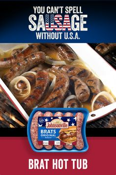 Be the envy of every cookout, BBQ, tailgate, picnic, or party with the trusted quality and flavor of Johnsonville sausage. This Johnsonville Brat Hot Tub is the classic backyard BBQ recipe to celebrate America! Bratwurst Recipes, Sausage Recipes, Pork Recipes, Chick Fil A Chicken Sandwich Recipe, Barbacoa, Grilling Recipes, Cooking Recipes, Appetizer Dishes, Appetizers