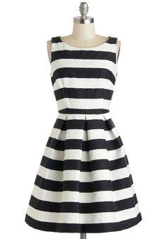 An Elegant Edge Dress - Mid-length, Black, White, Pockets, Party, A-line, Sleeveless, Stripes, Wedding, Fit & Flare, Boat