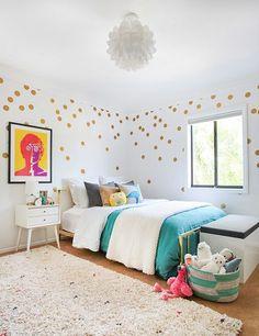 Pop of gold! a girl's room makeover boy girl bedroom, little girl bedrooms,