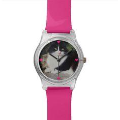 Queen of the Garden Cat Watch by www.zazzle.com/htgraphicdesigner* #zazzle #gift #giftidea #cat #wrist #watch #wristwatch #cute #tuxedo #pink