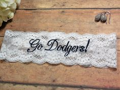 Dodgers Garter, Garter, Embroidered Garter, Navy Garter, Blue Garter, Personalized Garter, Custom Garter, Baseball Garter, Sports Garter by BloomsandBlessings on Etsy