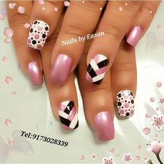 Trendy Nails Acrylic Nailart Black White - - You are in the right place about wedding nails acrylic Here we offer you the most beautiful pictures about the Fancy Nails, Trendy Nails, Pink Nails, Nails Rose, Fingernail Designs, Gel Nail Art Designs, Polka Dot Nails, Polka Dots, Colorful Nail Designs