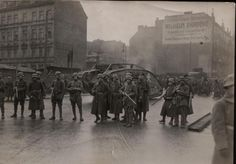 Berlin 1919. The SPD defence minister raised a freikorps that ejected the communists from the government quarter and thwarted their attempted coup. Trivia: If you look closely, these men are wearing...