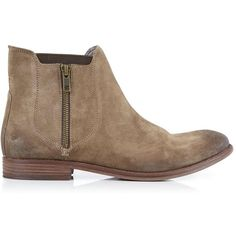 Hudson Algoma Flat Zip Up Ankle Boot (£125) ❤ liked on Polyvore featuring shoes, boots, ankle booties, taupe, taupe booties, hudson boots, flat bootie, taupe flat boots and short flat boots