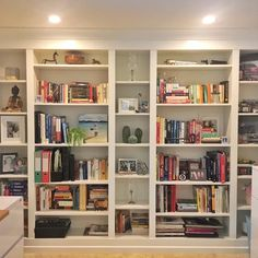 "DIY Project: Built-in IKEA BILLY Bookcase. Customise an IKEA Billy bookcase to look like custom cabinetry – STYLKEA. Here's the ultimate ""shelfie""… A DIY customised bookcase that started its life as IKEA Billy shelf units and now looks. Billy Ikea Hack, Ikea Billy Bookcase Hack, Bookshelves Built In, Bookcase Shelves, Built Ins, Billy Bookcases, Built In Wall Shelves, Custom Bookshelves, Custom Shelving"