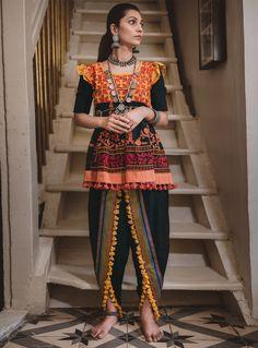 Buy Black Khadi Navratri Special Kediya with Dhoti Salwar 141014 online at lowest price from huge collection of salwar kameez at Indianclothstore.com.