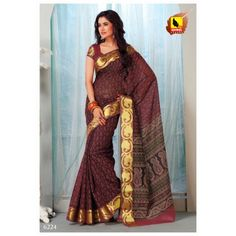 Saree Wine Colour in Cotton. Machine Embroidery. Striking Border 6224 - Online Shopping for Cotton Sarees by Muhenera