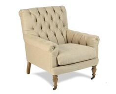 The Ross Tufted Chair in Dark Linen LOVE it!!