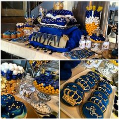 Blue gold royal baby shower candy buffet crown pillow cake showers cakes and ideas decoration . Baby Shower Azul, Baby Shower Candy, Gold Baby Showers, Baby Shower Parties, Baby Shower Themes, Baby Boy Shower, Baby Shower Decorations, Shower Party, Shower Ideas