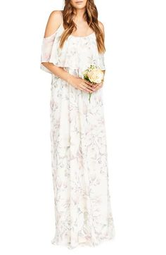 Show Me Your Mumu 'Caitlin' Convertible Ruffle Bodice Chiffon Gown in Dune, Dusty Blush, or Forever Vine