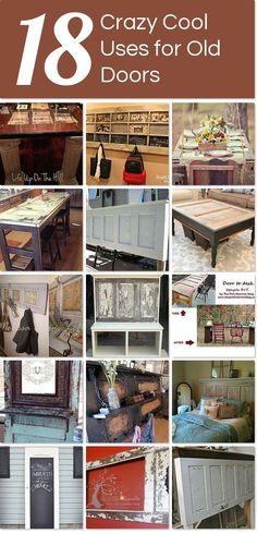 crazy cool uses for old doors Idea Box by Life Up On The Hill 18 crazy cool uses for old doors - not your typical upcycles! Old Door Projects, Furniture Projects, Furniture Makeover, Home Projects, Diy Furniture, Repurposed Items, Repurposed Furniture, Repurposed Doors, Reclaimed Doors