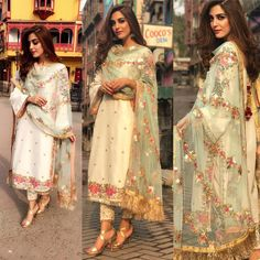 Latest Punjabi Suits Party Wear is a pale colored suit with semi-wide legged pants, with a beautifully encrusted dupatta for all your Punjabi Suits Party Wear, Indian Party Wear, Indian Wear, Designer Kurtis, Indian Designer Suits, Pakistani Wedding Outfits, Bridal Outfits, Party Outfits, Pakistani Party Wear Dresses