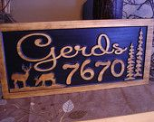 Personalized Carved Wooden Last Name Family Address Sign Birthday Gift Idea Deer Piner Trees Hunting Wood Wall Art Wood Presents