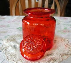Vintage Retro 1950s Orange Glass Canister 10% Discount by BESTBUYONLINES, $15.00 SOLD