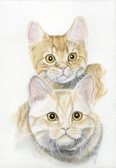 Cat Painting 5x7 Print from Original Watercolor by Earthspalette,