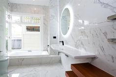 Job by John Kaminski - Parnell store This classic Birkenhead bathroom uses marble replica tile to stunning effect, designer Greg Chichester has created a modern and spacious bathroom without compromising the unique features of the villa. The tile replicates the natural look of Calacatta marble, with superb attention to detail, variation and subtlety in the design. Greg chose the tile for it's bold style, yet due to the quality of the replication, there is a high variation in the faces of ...