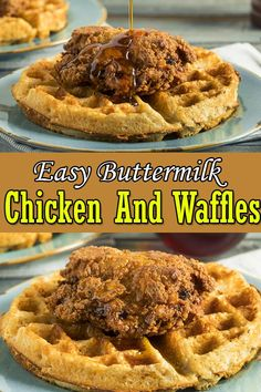 Chicken and Waffles is a popular American breakfast dish with crispy buttermilk fried chicken tenders pieces. This Easy Chicken and Waffles can be made in no less 20 minutes. #chickenwaffles #chickenandwaffles #americandish #breakfast #chickenrecipes Chicken And Waffles Restaurant, Waffle Restaurant, Fried Chicken And Waffles, Baked Chicken, Chicken Main Course Recipes, Easy Chicken Thigh Recipes, Best Chicken Recipes, Healthy Chicken, Healthy Food
