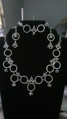 Angel choaker necklace set silver rings and clear crystal beads...$36 Clear Crystal, Crystal Beads, Crystals, Crosses, Necklace Set, Angels, Silver Rings, Jewelry, Glass Beads