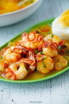 Thai shrimps with Orange, chilli, lime and lemon grass sauce