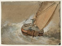 Joseph Mallord William TurnerA Fishing Boat in a Rough Sea, Seen from Behind 1796-7
