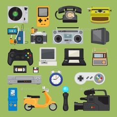 Hipster Tech Gadget Icons by ssstocker Hipster tech gadgets. 90s gadget icons like old joystick and console, gamepad and video tape. Vector illustration