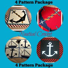 Nautical Crochet Package, Set of 4 Afghan Patterns, Nautical C2C Graph
