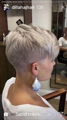 Thin Hair Cuts asymmetrical pixie cut for thin hair Short Wedge Hairstyles, Very Short Haircuts, Pixie Hairstyles, Hairstyles With Bangs, Short Hair Styles, Hairstyle Ideas, Blonde Hairstyles, Short Blonde Pixie, Short Punk Hair