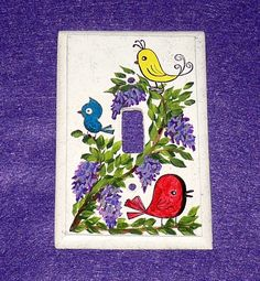 Hand Painted Birds Light Switch PLATE, Decorative Single Wood Light Switch Cover, Colorful Whimsy Birds, Lilacs https://www.etsy.com/treasury/NTM5ODkzNXwyNzI0Njc4Mjk2/purple-haze