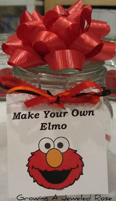 Sesame Street Party Favor-Make your own elmo (contains homemade red playdhough, pipe cleaners, googly eyes).    Love that the favor is a CRAFT KIT!