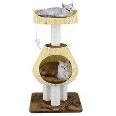"Go Pet Club Rattan Wicker Brown Cat Tree Condo with Sisal Covered Posts SF089, 40"" H   Petco Wild Bird Food, Wild Birds, Cat Bros, Rattan, Wicker, Invisible Fence, Cat Tree Condo, Sisal Rope, Brown Cat"
