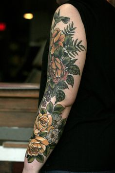 kirsten works at wonderland tattoo in portland, oregon. she is currently not accepting new projects. Arm Sleeve Tattoos For Women, Half Arm Sleeve Tattoo, Shoulder Cap Tattoo, Cute Tattoos For Women, Upper Arm Tattoos, Leg Tattoos, Floral Thigh Tattoos, Flower Tattoos, Colour Tattoo For Women
