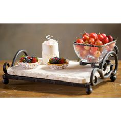 Marble and Iron Server with Bowl - from Bella Toscana by The Lamp Stand