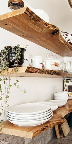 Kitchen Live-Edge Floating Shelves Diy Shelf Bracket Living Room Beach House Shelves living room maybe Styled Dining Room Shelving - The Wood Grain Cotta
