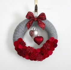 Hearts Wreath Red and Gray Valentine Wreath by TheBakersDaughter More