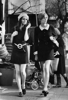 …or taking a stroll between classes. | 24 Fashion Photos That Will Make You Wish It Were The '60s I love the dress on the right