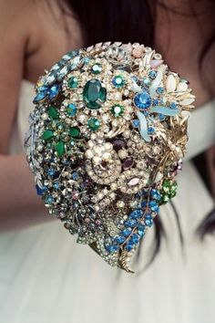 """AWESOME idea for wedding flowers! I wanted to have jewels in my bouquet, but both my florist & wedding planner said, """"Absolutely not!"""" So I put them in on my own after I picked the bouquet up!People are so weird about weddings. Bouquet Bling, Wedding Brooch Bouquets, Bridesmaid Bouquet, Crystal Bouquet, Bouquet Toss, Bridesmaids, Boho Wedding, Wedding Flowers, Dream Wedding"""
