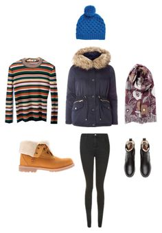 """winter layers"" by pippahoel on Polyvore featuring H&M, Topshop and Timberland"