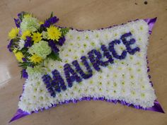 Named Floral Tribute Pillow £90.00 available in any colour and delivered to any part of UK from www.floralfusions.com