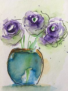 Watercolor Three Purple Flowers Art Print by Britta Zehm - Fine Art America Art Prints and Canvas Prints for sale - Watercolor Postcard, Abstract Watercolor, Watercolor And Ink, Watercolor Flowers, Watercolor Journal, Abstract Paintings, Art Floral, Purple Flowers, Bouquet Flowers