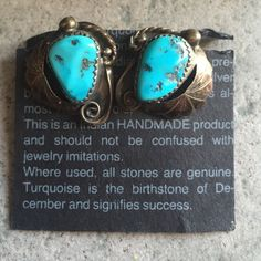 TURQUOISE CLIP-ON VINTAGE EARRINGS Indian Handmade product. Turquoise and Silver Jewelry Earrings