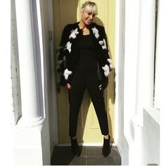#Regram from lovely @elikagibbs rocking the KIM fox coat in black and white worked with intarsia  #fox #lillyevioletta #originassured #livingluxuryeveryday