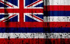 Download wallpapers Hawaiian flag, 4k, grunge, flag of Hawaii, Oceania, Hawaii, national symbols, Hawaii national flag