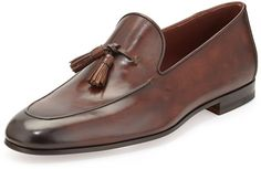 $495, Dark Brown Leather Tassel Loafers: Magnanni Leather Tassel Loafer Medium Brown. Sold by Bergdorf Goodman. Click for more info: https://lookastic.com/men/shop_items/238137/redirect